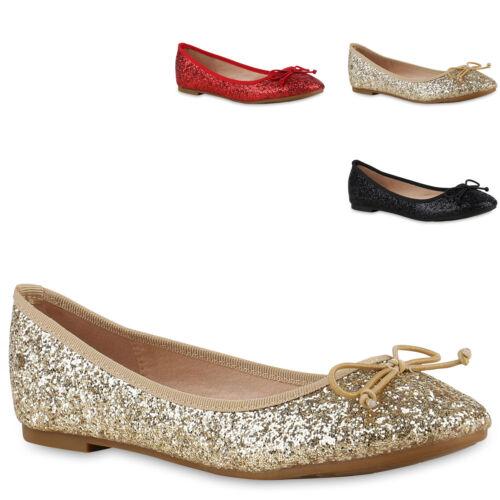 893148 Damen Ballerinas Glitzer Metallic Party Slipper Glamour Flats Mode