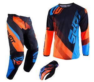 Blue//Neon Orange Shot Devo Mens Off-Road Motorcycle Pants 30