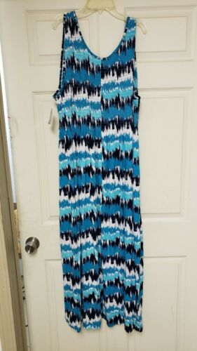 FALLS CREEK Womens Dress 3X Turquoise Navy Smocked Stretch Knit S4-12 240 71