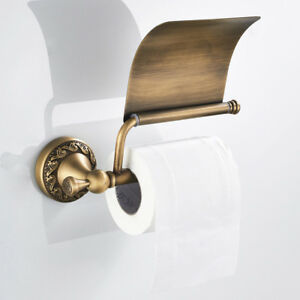 Antique Brass Toilet Paper Holder Roll Tissue Bracket With Cover