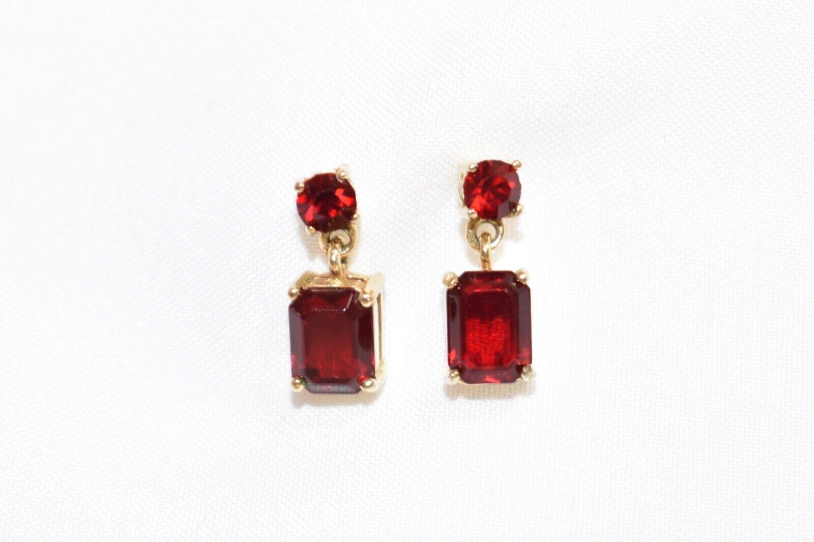 14k yellow gold dark red CZ dangle stud earrings