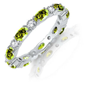 Oval-Peridot-CZ-Eternity-Stackable-and-Round-Clear-CZ-Genuine-Silver-Ring