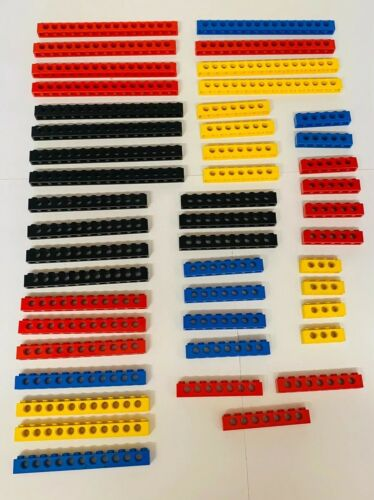 Vintage Lego Technic Bricks Beams Blue Red Yellow Black White 1x16 1x10 1x6 1x8