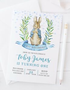 10 Personalised Peter Rabbit Birthday Party Invitations Pink Or