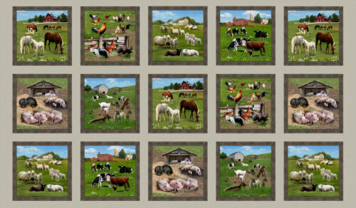 "Farm Animals Pig Cow Sheep Horse Cotton Fabric Elizabeths Studio 24/""X44/"" Panel"