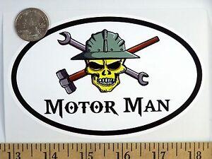 "Mechanic Skull 3 1//2/"" x 5/"" Oval Euro Bumper Sticker B163"