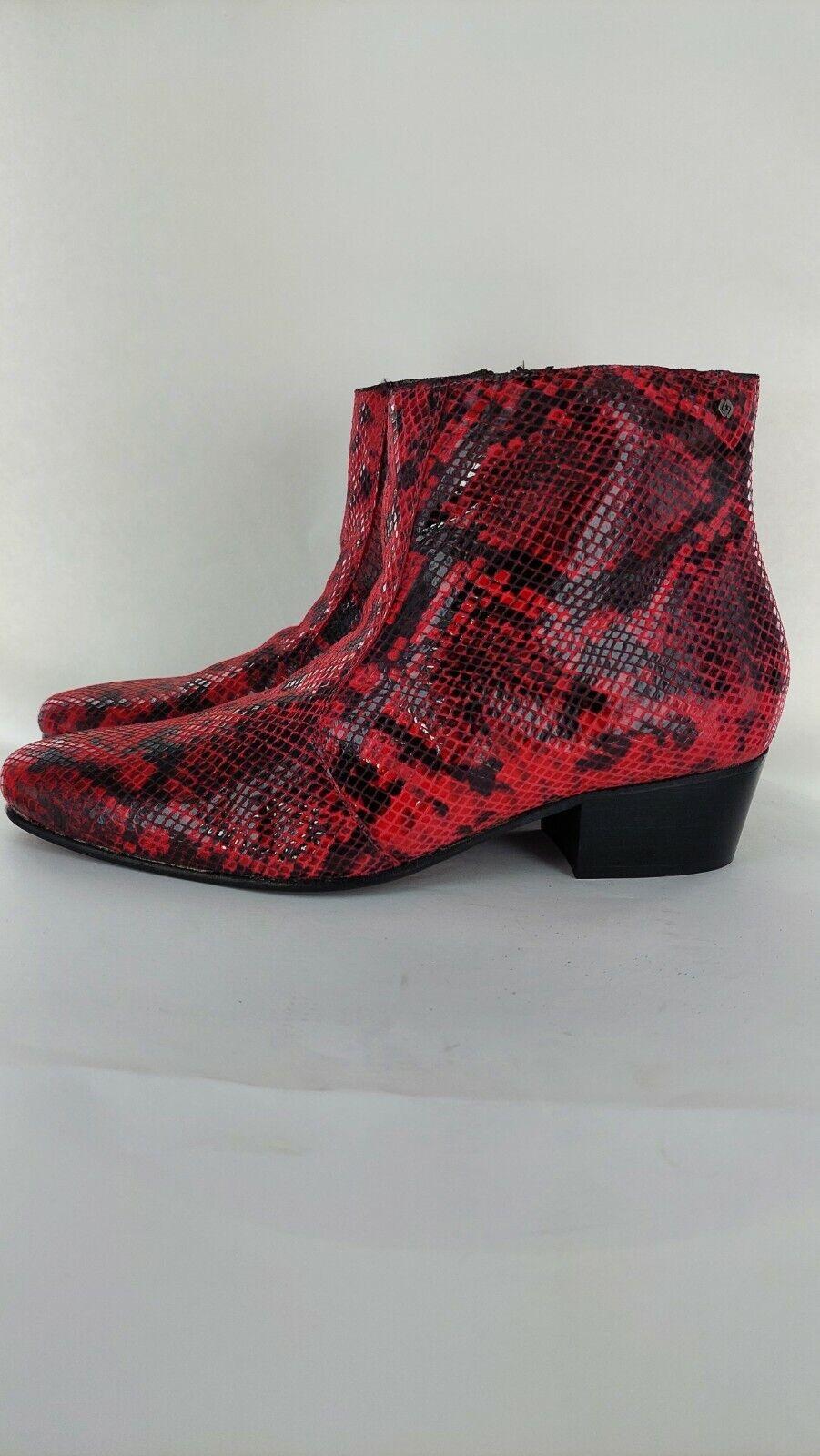 Club Cubano ROMARIO Mens Handmade Leather Cuban Heels Boots Python Red UK9#849