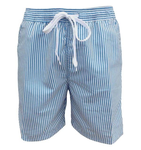 Soul Star Men's Splendor Striped Swim Shorts Blue / White