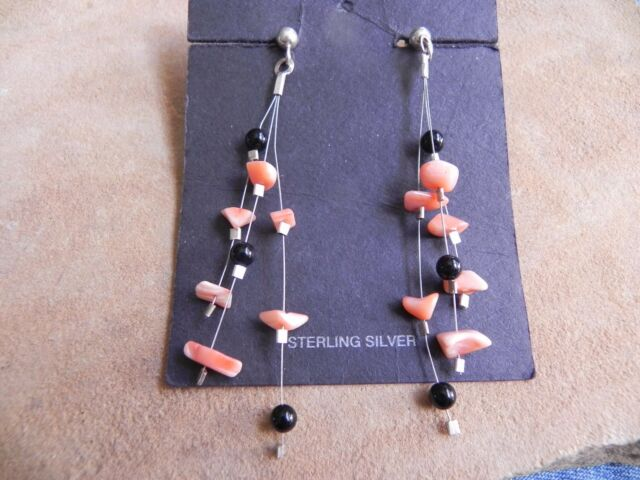 Peach Coral, Onyx & Sterling Silver dangle Illusion Earrings Santo Domingo