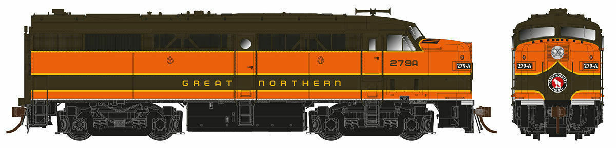 RAPIDO GREAT NORTHERN  FPA-2 DC B 277A gn NO SOUND