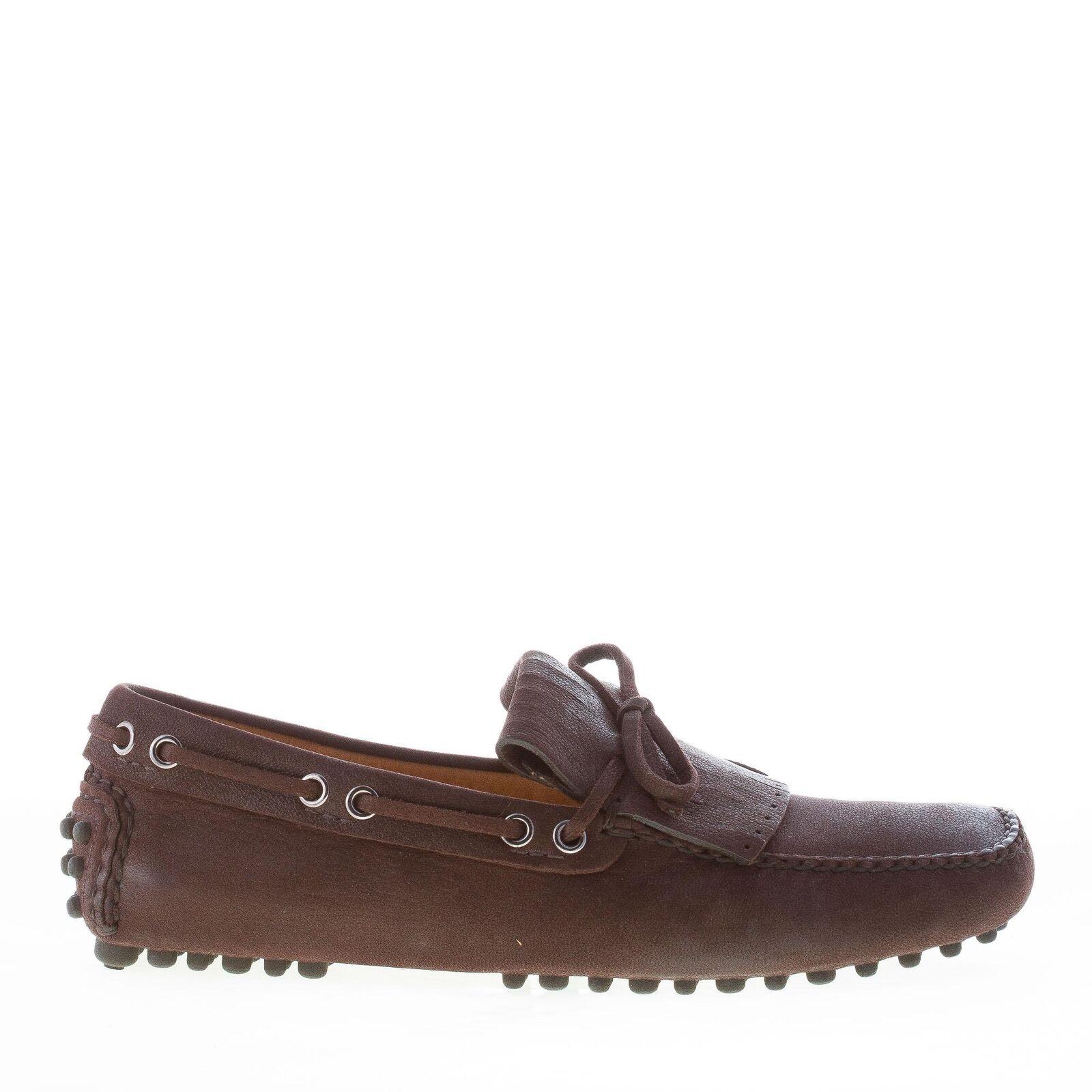 Scarpe casual da uomo  CAR SHOE scarpe uomo shoes Mocassino gommini pelle capra marrone ebano frangia