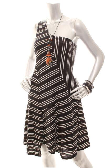 Maeve Anthropologie Black White Moka Striped One Shoulder Dress Size