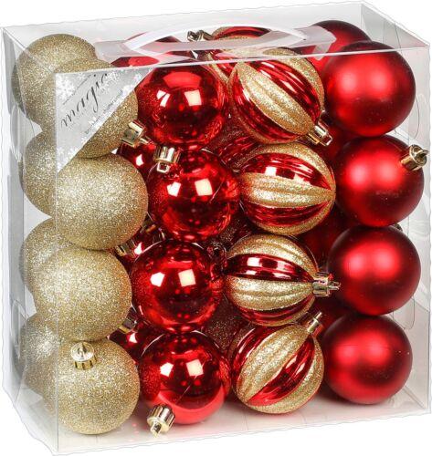32 Christbaumkugeln 6cm Kunststoff bruchfest Plastik Weihnachtskugeln Set 60mm