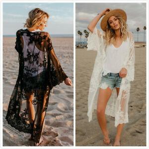 Women Lace Crochet Long Cardigan Summer Beach Holiday Top Floral cardigan