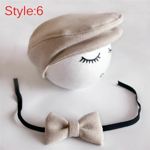 Crochet Handmade Baby Hat Bow Tie Outfits Set Photography Props Beanie Cap