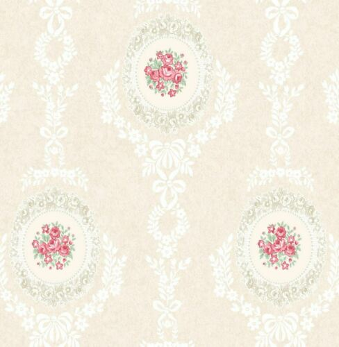 Floral Roses Wallpaper Trellis Flowers Bows Ornamental Pink Mica Shimmer