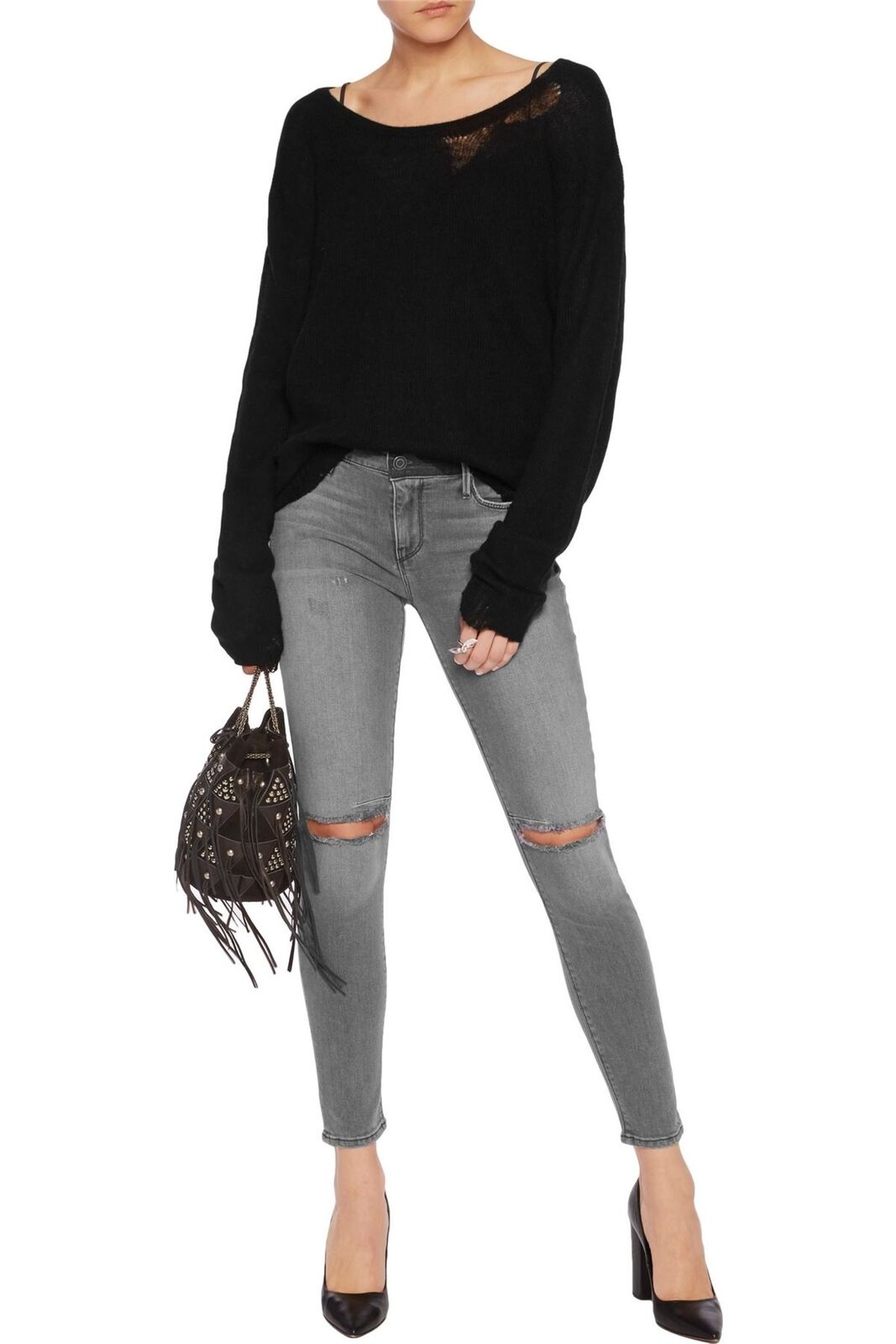 RTA PRINCE MID-RISE DISTRESSED CROPPED SKINNY JEANS W24 UK 6
