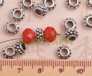 50pcs-8mm-Tibetan-Silver-Alloy-Metal-Spacer-Big-Hole-Beads-Jewelry-Findings