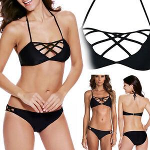 590101c6bc Image is loading 2pc-Black-Geometric-Straps-Bralette-Bandeau-Swimsuit-Bikini -