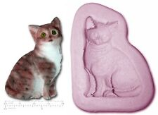 CAT SITTING #1 Craft Sugarcraft Sculpey Silicone Rubber Mould