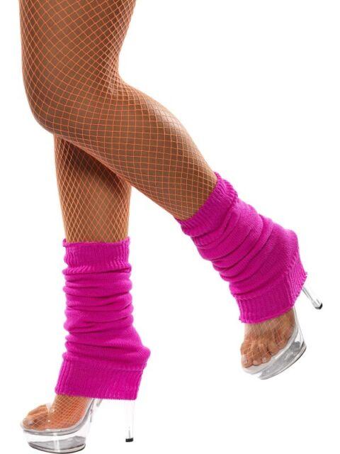 Leg warmers Legwarmers Anklewarmers 80's Neon Pink Rave Costume Fancy Dress