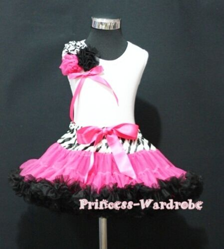 Zebra Style Pettiskirt Rose with Bow White Top Set 1-8Y