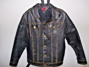 7483bbe5 Image is loading Tommy-Hilfiger-Vintage-Factory-Distressed-Leather-Coat-Men-