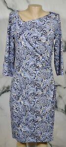 TALBOTS Blue Black Beige Stone Paisley Dress Medium 3/4 Sleeves Asymmetric Neck