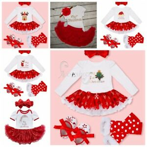 d7032316b3b My First Christmas Infant Baby Girl Santa Romper Headband Tutu Dress ...
