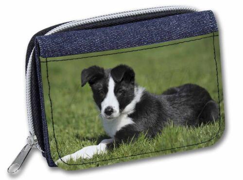 AD-BC14JW Border Collie Dog Girls//Ladies Denim Purse Wallet Christmas Gift Idea