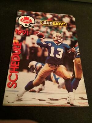 Subway Canadian Football League 1992 League Pocket Schedule CFL
