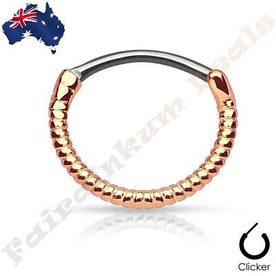 316L Surgical Steel Rose Gold Ion Plated Laced Edge Septum Ring Clicker