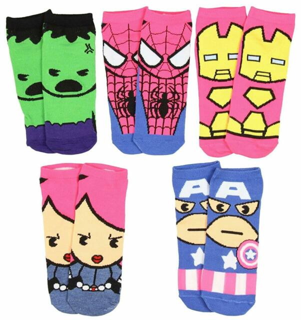 Marvel Kawaii Avengers and Spider-Man Characters Socks 5 Pack