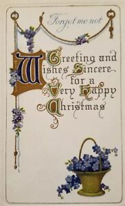 Merry-Christmas-gold-embossed-forget-me-not-flowers-vintage-postcard-a2-222