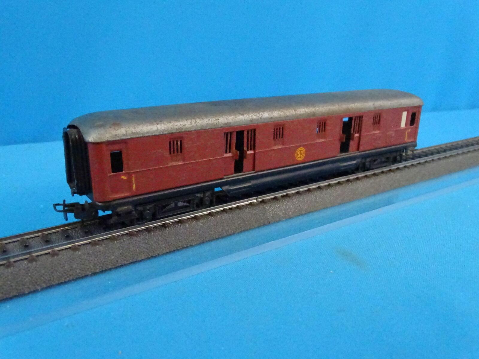 Marklin SJ 4021 Express Train Bagage Car Marronee Tin Plate 2