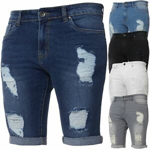 Enzo-Jeans-Mens-Denim-Shorts-Skinny-Fit-Distressed-Ripped-Half-Pants-Waist-Sizes
