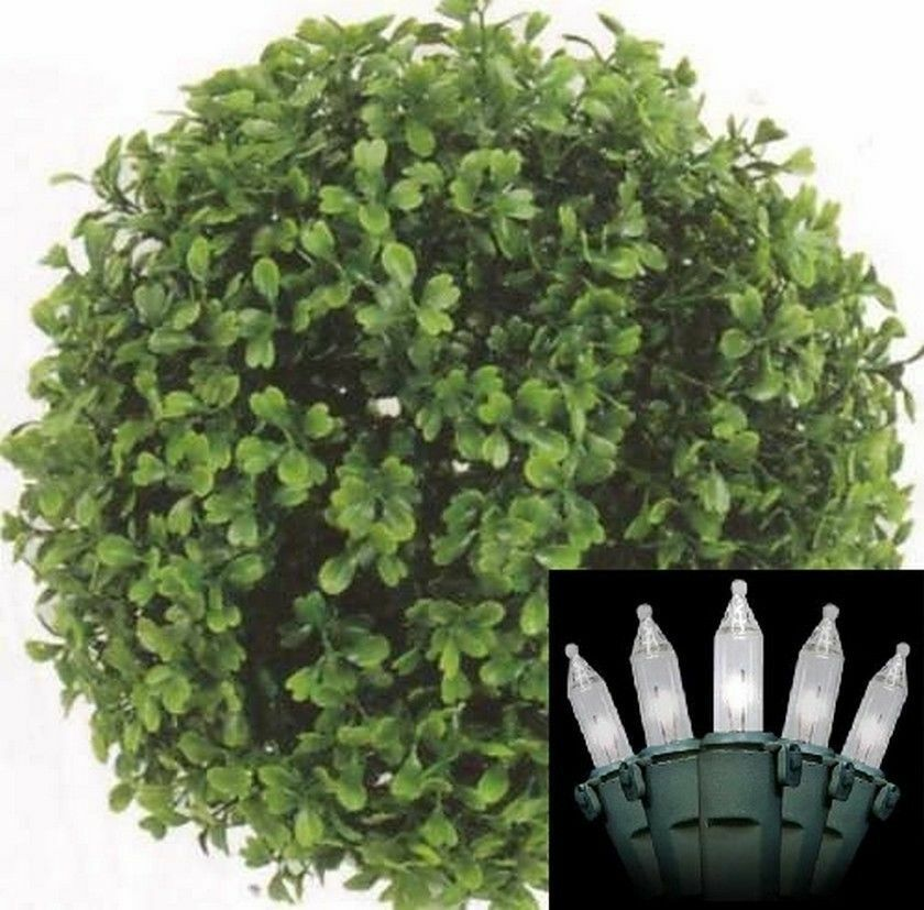 10  Boxwood Ball Artificial Outdoor UV Topiary with Holiday Christmas Light Tree