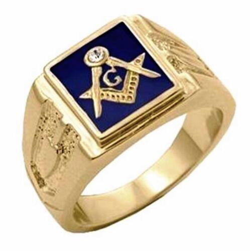 14K Gold Plate Mens Masonic Blue Lodge Mason Simulated Diamond Ring
