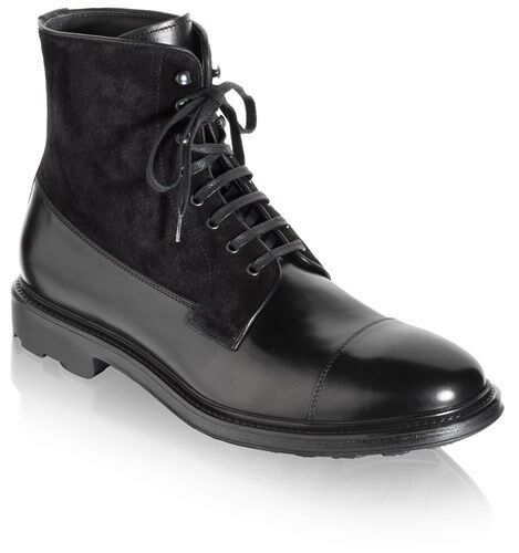 Handmade Men's Black ankle leather boot Men leather and suede lace up boot
