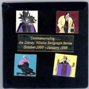 Details about Disney Villains Maleficent Diablo Evil Queen Cruella Ursula  Serigraph LE Pin Set