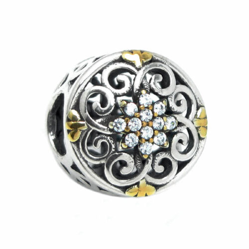 2 Tone Sterling Silver Round Flower CZ Crystal Bead for European Charm Bracelets