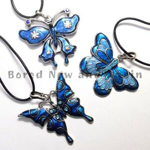 Large-Retro-Enamel-Butterfly-Dragonfly-Pendants-Turquoise-and-Blue