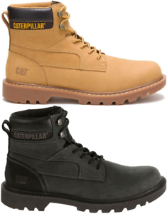 CAT-CATERPILLAR-Bridgeport-en-Cuir-de-Travail-Chaussures-Bottes-Hommes-Nouveau