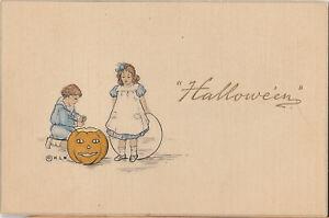 S21-1230-Halloween-Postcard-Woehler-Buffalo-Linen-Boy-Girl-JOL-c-1910