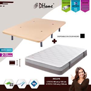 CONJUNTO Base Tapizada 3D Negra o Camel + Colchon Visco colchón tapizadas PACK
