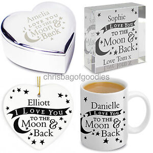 PERSONALISED I LOVE YOU TO THE MOON AND BACK Gifts for Her Him ... 8caef7441