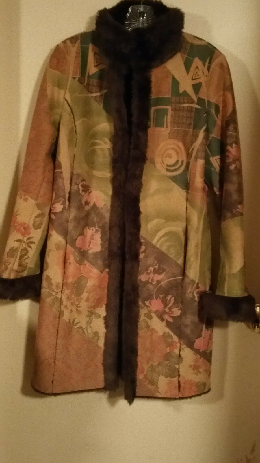 Colorido Lapis Gamuza como abrigo piel sintética abrigo forrado con  puño XL (L) Perfecto Estado  nuevo listado