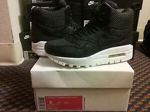 exótico realidad Existe  Womens Nike Air Max 1 Mid Sneakerboot Tech Lab Black Summit White 95 826601  001 | eBay