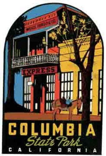 Columbia State Park  California      Vintage 1950/'s Style   Travel Sticker Decal