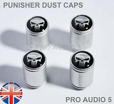 Silver Body PUNISHER SKULL Dust Caps - Universal Car Van - Tyre valve - UK Post